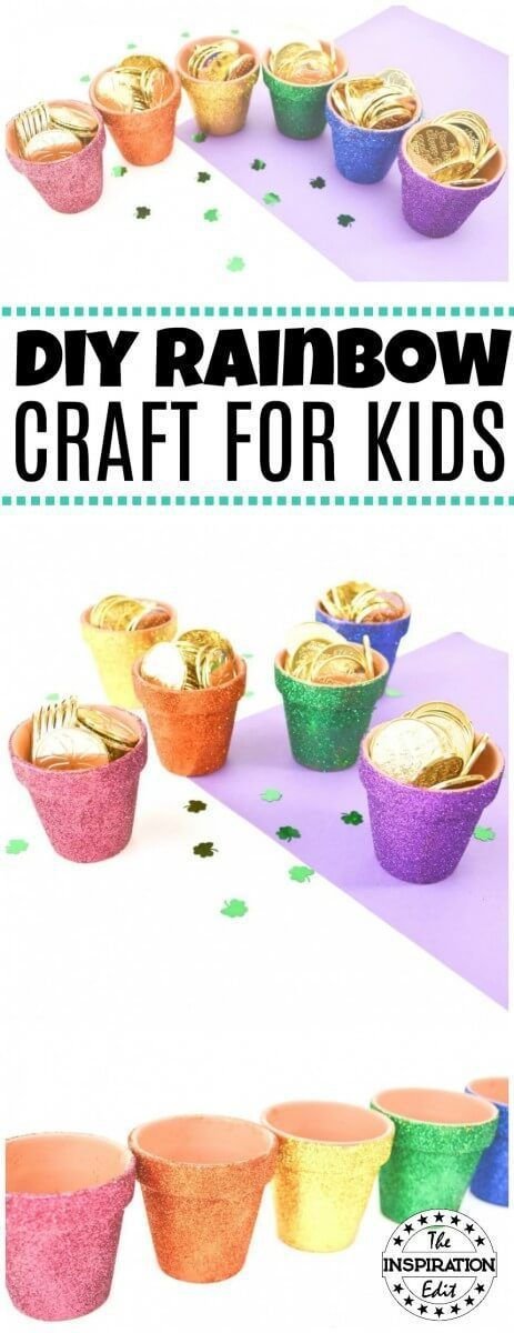 These fantastic Rainbow Pots are a fun and crafty idea for the kids. Perfect for Saint Patricks Day or for some spring rainbow fun. Check out the tutorial on The Inspiration Edit #Rainbow #Rainbowcraft #plantposts #planters #saintpatricks #saintpatricksday #saintpatricksdaycrafts #toddlercrafts #painting #glittercraft #potofgold