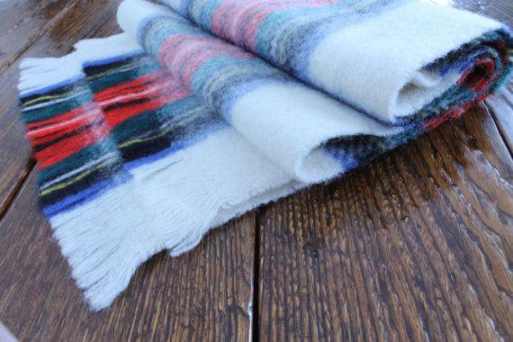 Plaid Wool Scarf White Wool Scarf White Plaid by ClockworkRummage, $15.00