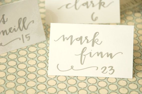 Place Cards - Wedding Calligraphy for Escort Cards - Silver Ink on White Paper