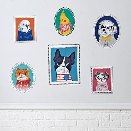 Domestic Animals Decals  | The Land of Nod I will have to buy this BC the one dog looks like a boy may..
