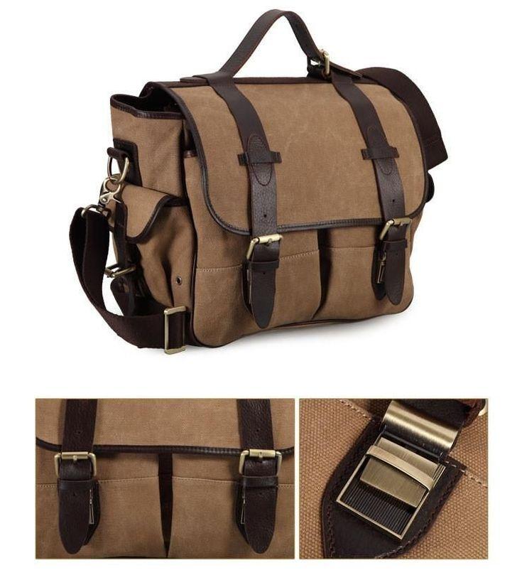 NIkon Canon Camera Bag Shoulders Canvas with Leather Padded Hand Bag C1068 Khaki #digitalcameras #CanonCameras