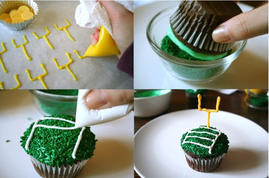 Superbowl Cupcakes--I'm thinking maybe making a chocolate stout cupcake with this toping.