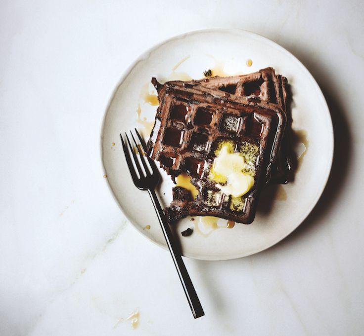 Schokoladenwaffeln mit Butterflocken.