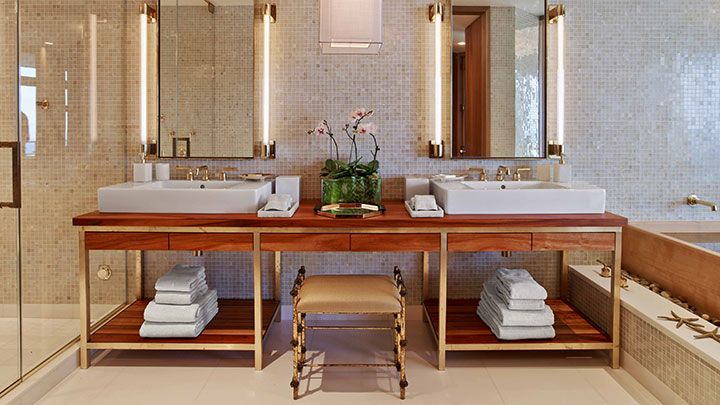 Bathroom Vanities Honolulu waikiki penthouse suite at trump waikiki master bathroom double