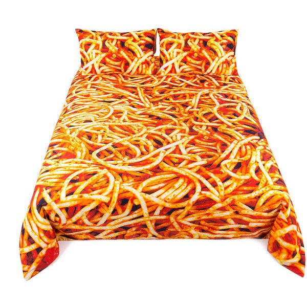 Seletti wears Toiletpaper Spaghetti Duvet Set - King ($275) ❤ liked on Polyvore featuring home, bed & bath, bedding, duvet covers, orange, king size duvet sets, orange bedding, king pillowcases, orange king size bedding and king duvet set