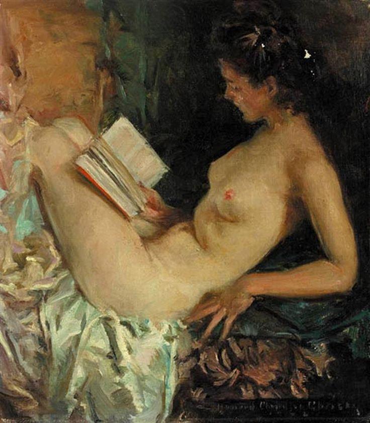 Nude Girl Reading  Howard Chandler Christy 1873-1952  Art Of Reading  20Th C -6650