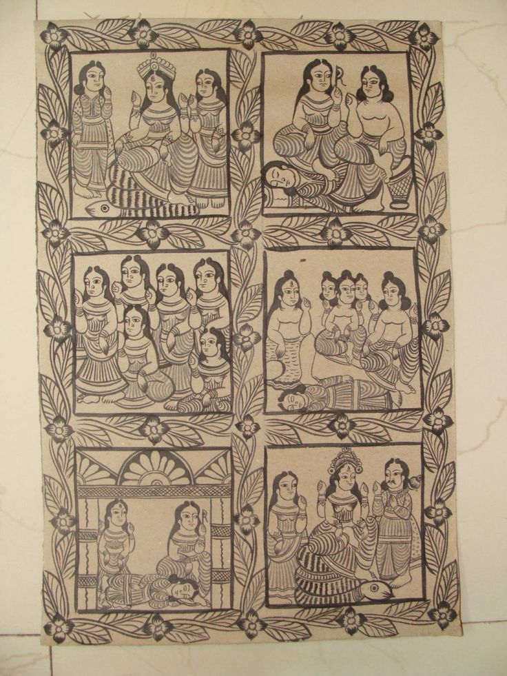Midnapore Patachitra paintings from Midnapore. They are Ramayana scenes and Goddess Durga paintings.