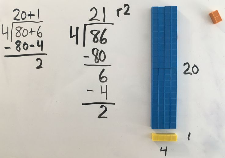 A snippet of a session the other day. I love how easy it is to model division with the blocks. It allows a student to go from basic division facts to long division quickly and with no frustration. It makes it EZ and FUN. There are 2/4 left remaining outside the rectangle thus why we call it a remainder. We didn't talk about the fact that we can actually count four from eight-six 21 and 2/4 times. That will be the next progression.
