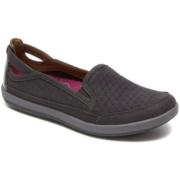 Rockport Charcoal Black Zahara Slip-On Sneaker ($50) ❤ liked on Polyvore  featuring