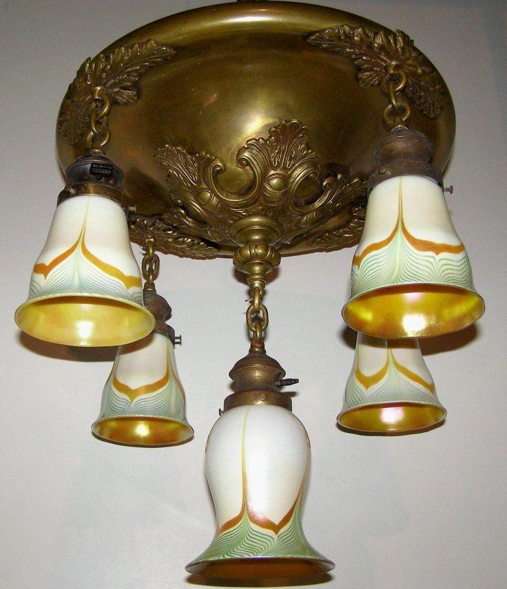 5 Light Art Nouveau Brass Fixture Steuben Signed Green Pulled Feather Shades 1092 Four