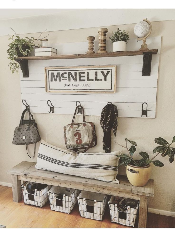 Shiplap shelf, entryway. Bench.