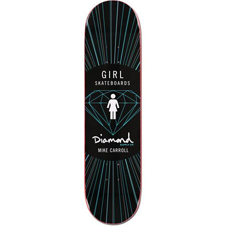 "Skate the streets like a master with the Girl x Diamond Supply Co Mike Carroll 8.0"" skateboard deck. The Girl Skateboards x Diamond Supply Co collaboration skate deck has ""Girl"" and ""Diamond Supply Co"" logos with a Mike Carroll script, and brilliant beams"