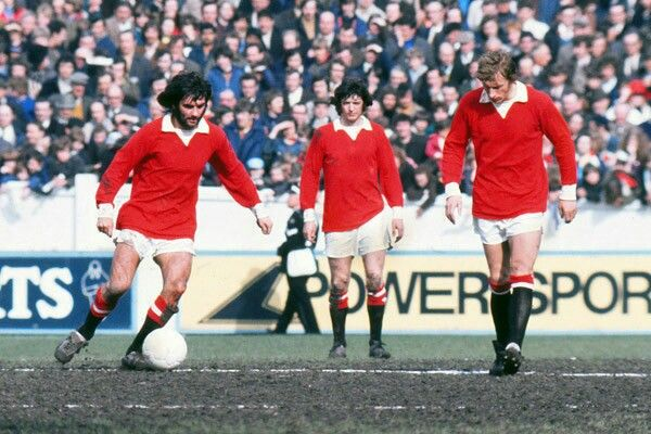 George Best, Willie Morgan and Denis Law of Man Utd in action at Coventry in 1972.