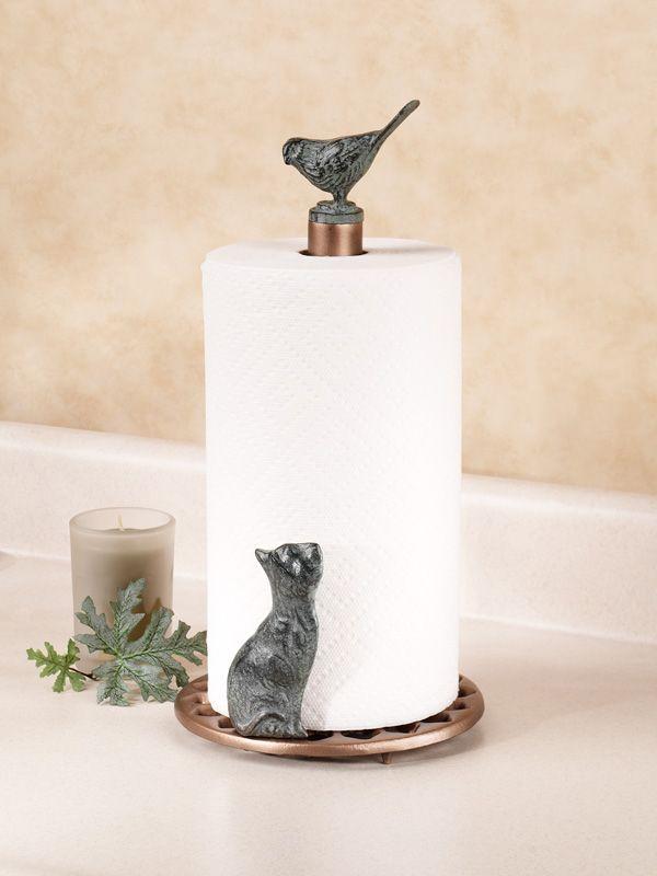 Cat And Bird Metal Paper Towel Holder Paper Towel Holder Metal Paper Towel Holder Kitchen Towel Holder
