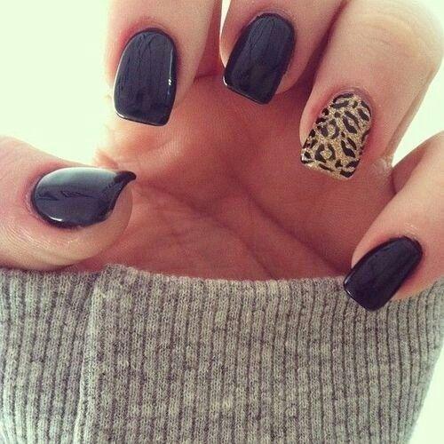 Black and cheetah nails