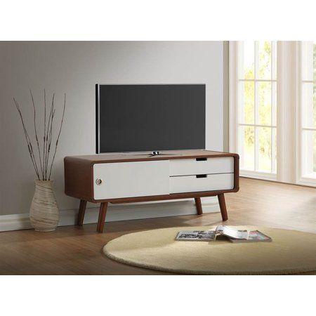 Baxton Studio Armani Mid-Century Modern Dark Walnut and White 2-Tone Finish 2-Drawer with Sliding Door Wood TV Cabinet