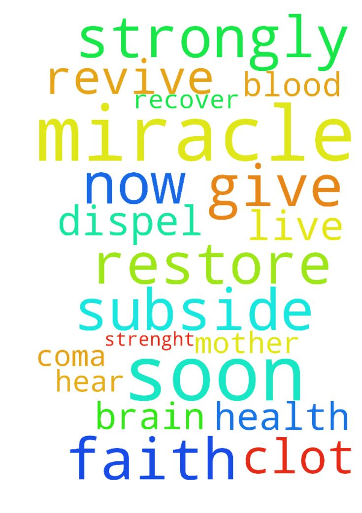 I would like to request a miracle prayer - I would like to request a miracle prayer for my mother . who is on coma now. Please pray that the blood clot in her brain will subside or dispel. I would like his to hear our prayers for her and she will have the will to live on strongly. I would to pray that she would revive and re.cover soon. Give her strenght and faith and restore her health soon. Thank you . Amen Posted at: https://prayerrequest.com/t/sry #pray #prayer #request #prayerrequest