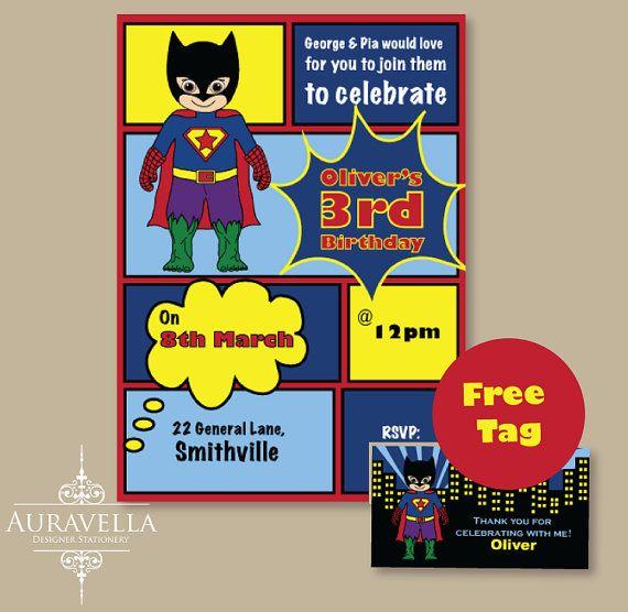 SUPERHERO invitation. Printable birthday invitation by Auravella