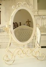 Vintage Style Antique Cream Ladies Vanity Mirror ~ Adjustable Swivel Mirror