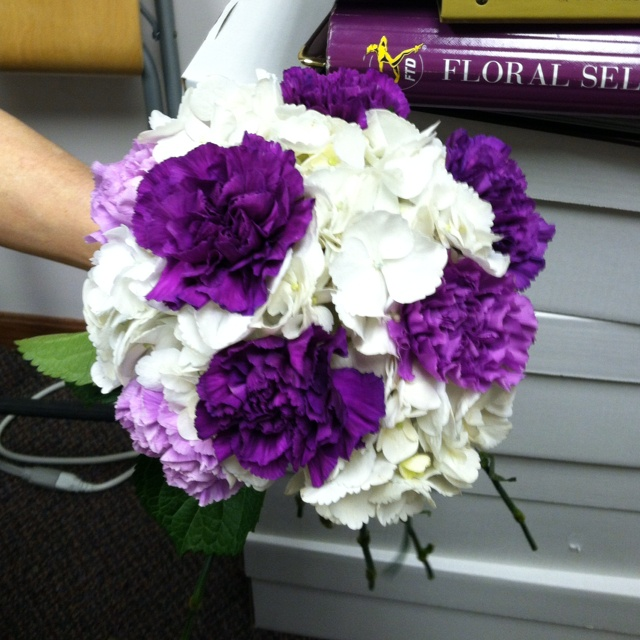 Mock Up Of My Bm Bouquets One White Hydrangea With Light And Dark Purple Carnations Intermixed
