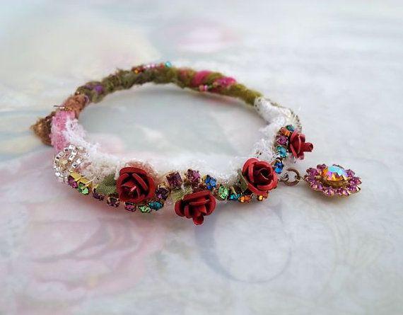 Boho bangle bracelet with charm Bohemian bracelet by LaCamelot