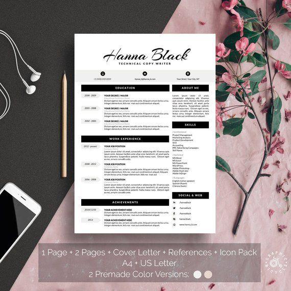 Reprendre Le Modele Word Telechargement Instantane Propre Feminin Noir Et Blanc Moderne Modele De Resume Template Word Resume Template Modern Resume Template