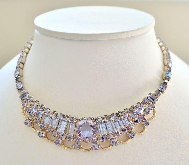 Vintage Necklace KRAMER 1950s Faux Alexandrite Lilac Blue Retro Bridal Jewellery #Kramer
