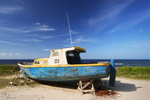 Bajan Fishing Boat 01 Bathsheba Barbados by Lightscrapes  Landscape Blue Seascape Sea Fishing Blue Sky Barbados Caribbean Yellow Maritime Calm Peaceful Atlant