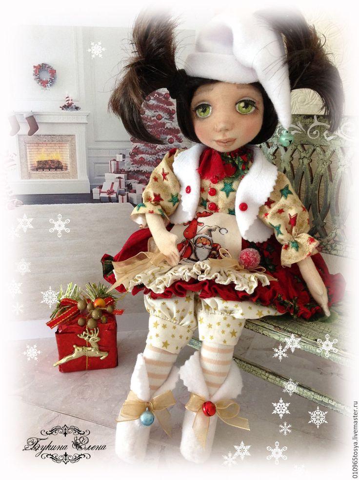 Купить Рождественская гномочка. - новогодний подарок, новогодняя кукла, рождественская ткань, рождественская кукла