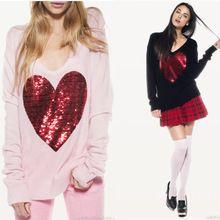 Wildfox -Summer outono 2013 blusas de lantejoula sequin pêssego coração bordado pulôver tamanho grande feminino da camisola(China (Mainland))