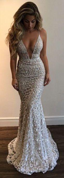 Mermaid Prom Dress,2017 Prom Dresses Stunning Prom Dress,Spaghetti Straps Evening Dress,Beading Party Dress,Lace Prom Dresses,V-neck Prom Dress,Sexy Evening Dress,Prom Dress