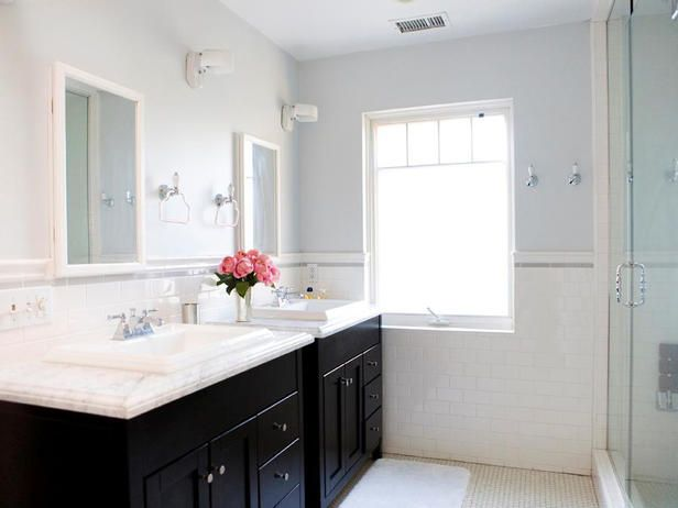 bathroom ideas: Modern Bathroom, Dark Cabinets, Blue Wall, Bathroom Vanities, Subway Tile Bathroom, Bathroom Renovation, Glasses Shower, Bathroom Ideas, Contemporary Bathroom
