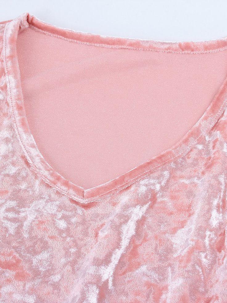 Casual Velvet Solid Color V-neck Long Sleeve Women Mini Dress