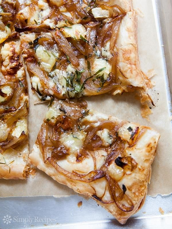 Caramelized Onion Tart with Gorgonzola and Brie ~ Crispy savory tart made with puff pastry, caramelized onions, and gorgonzola and brie cheeses. ~ SimplyRecipes.com