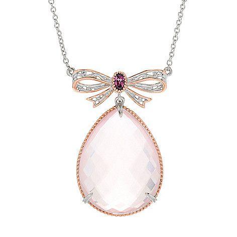 """160-703 - Gems en Vogue 18"""" 29.77ctw Briolette Cut Rose Quartz & Rhodolite Necklace"""