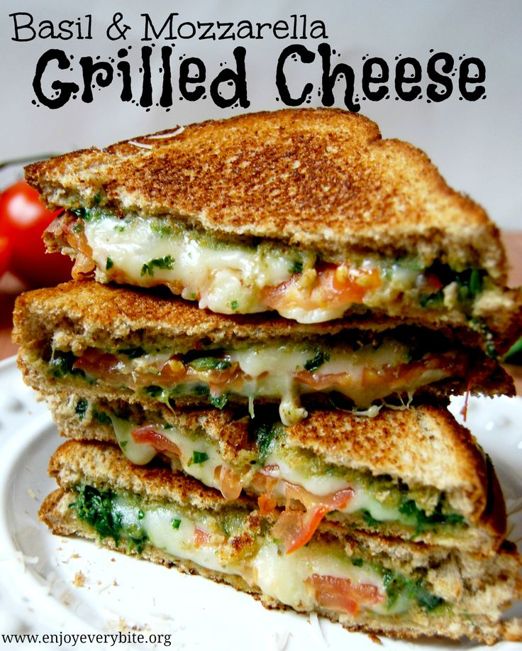 Delicious, healthy, and budget-friendly basil & mozzarella grilled cheese sandwiches #recipe ... but I'm   adding bacon