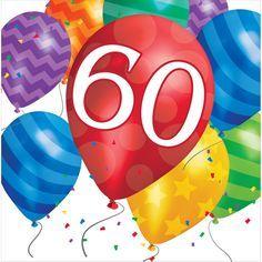 Balloon Blast 60th Birthday Lunch Napkins/Case of 192