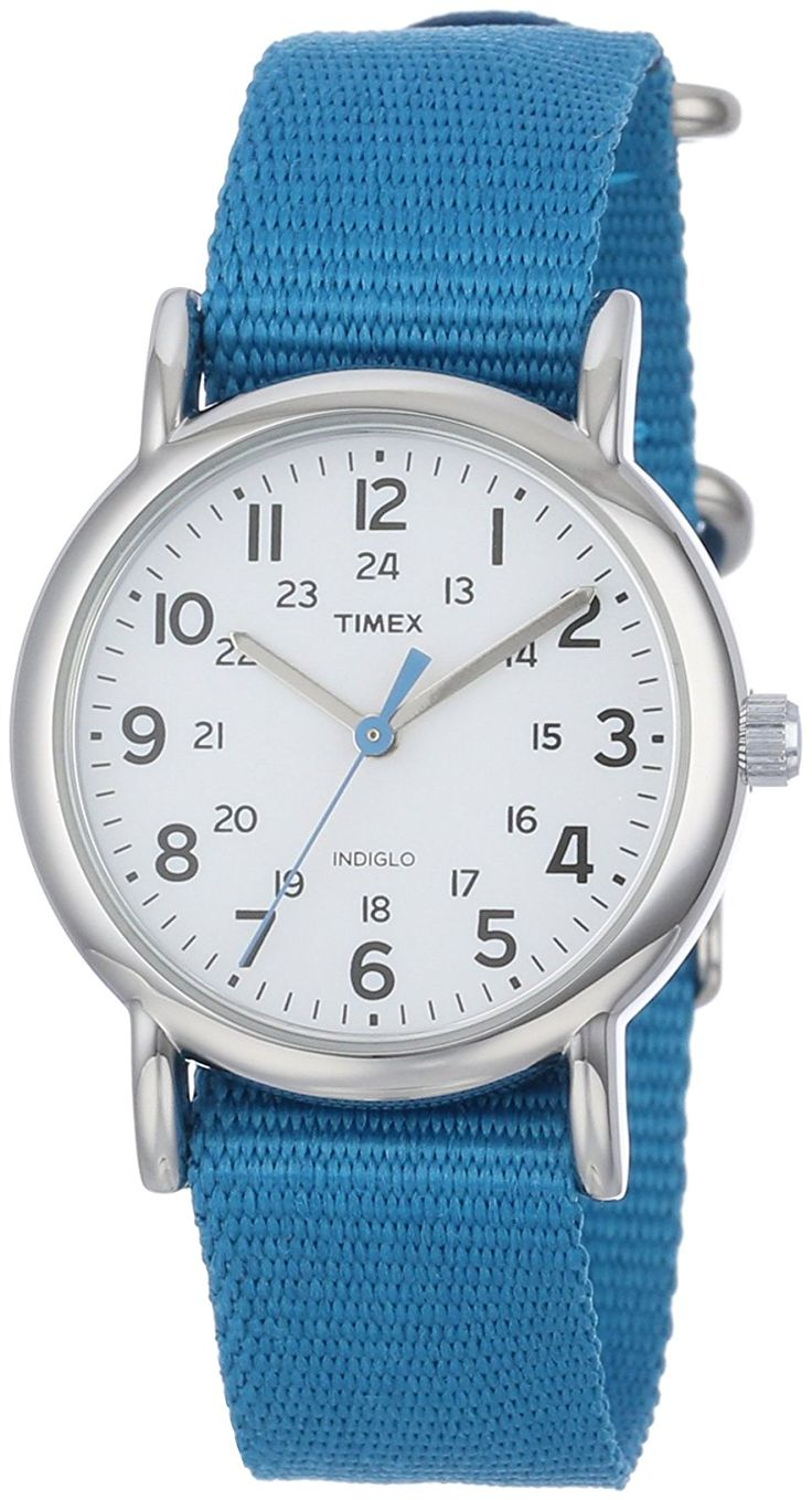 Timex Women's T2P2279J 'Weekender' Silver-Tone Watch with Blue Nylon Band -- To view further for this watch, visit the image link.