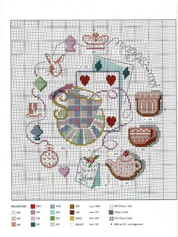 cards and tea cross stitch cart