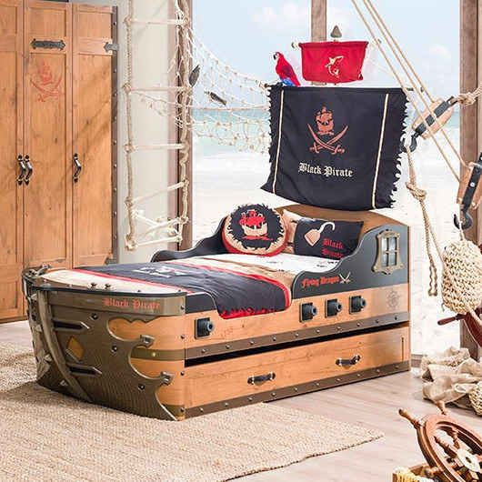 This pirate ship bed that's arrr-guably the coolest one on this list.