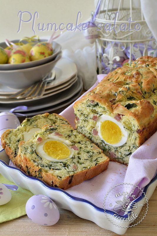Plumcake salato con spinaci e pancetta
