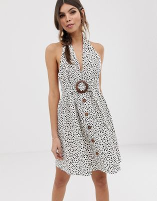 b221f06bbc6 ASOS DESIGN halter neck mini button through linen sundress with buckle in  spot