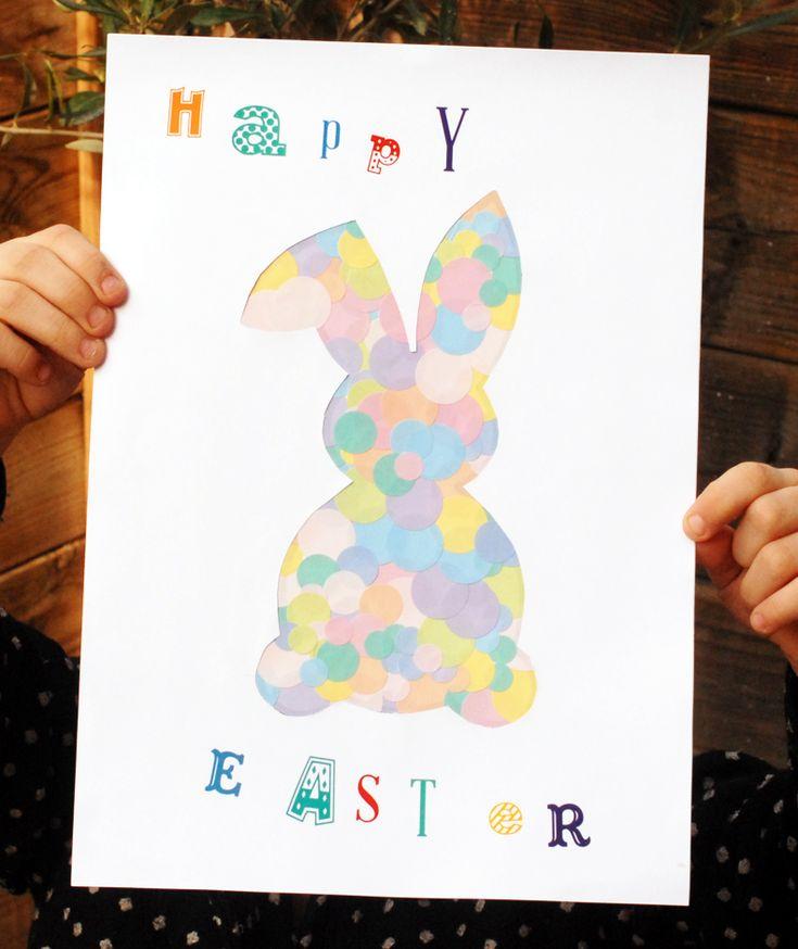 Le lapin de Pâques en gommettes   Jouonsensemble.fr