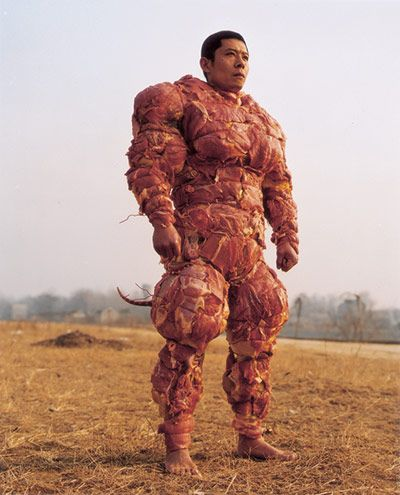 """I have no idea: Meat Suit. Zhang Huan, """"Homeland,"""" (2001). Before Gaga"""