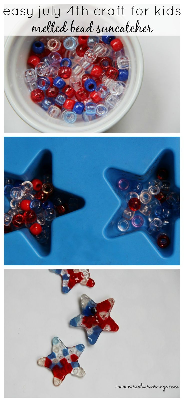 Easy July 4th Pony Bead Craft for Kids                                                                                                                                                      More