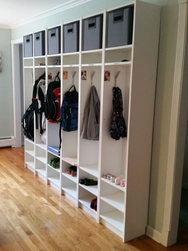 ikea hack billy bookcases turned cubbies motherwood past projects pinterest flure. Black Bedroom Furniture Sets. Home Design Ideas
