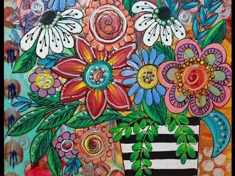 Acrylic Painting Tutorial, Boho Flowers in Vase by Angela Anderson - YouTube