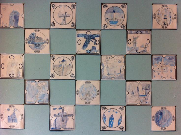 Het resultaat: selfmade Delfts Blauwe tegels by groep 4!! Gewoon leuk!