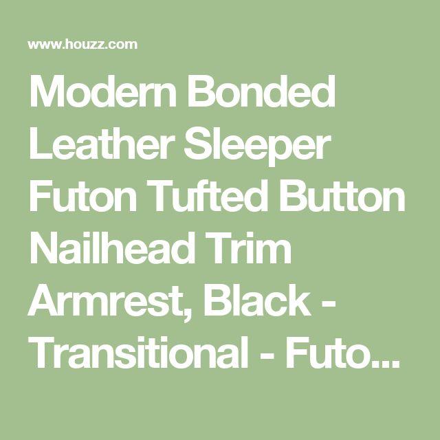 Modern Bonded Leather Sleeper Futon Tufted Button Nailhead Trim Armrest, Black - Transitional - Futons - by SofaMania