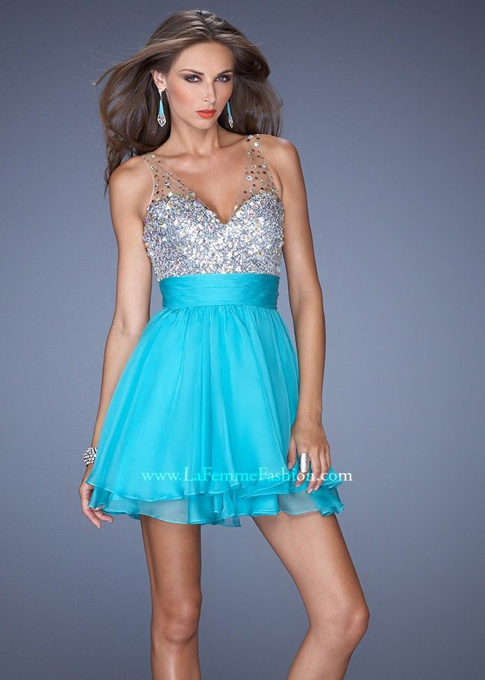 La Femme 19469 Jeweled Chiffon Dress Website Special